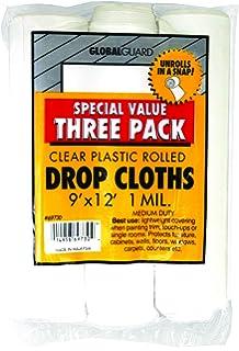 premier 9u0027 x 12u0027 1 mil clear plastic drop cloth rolled 3 pack