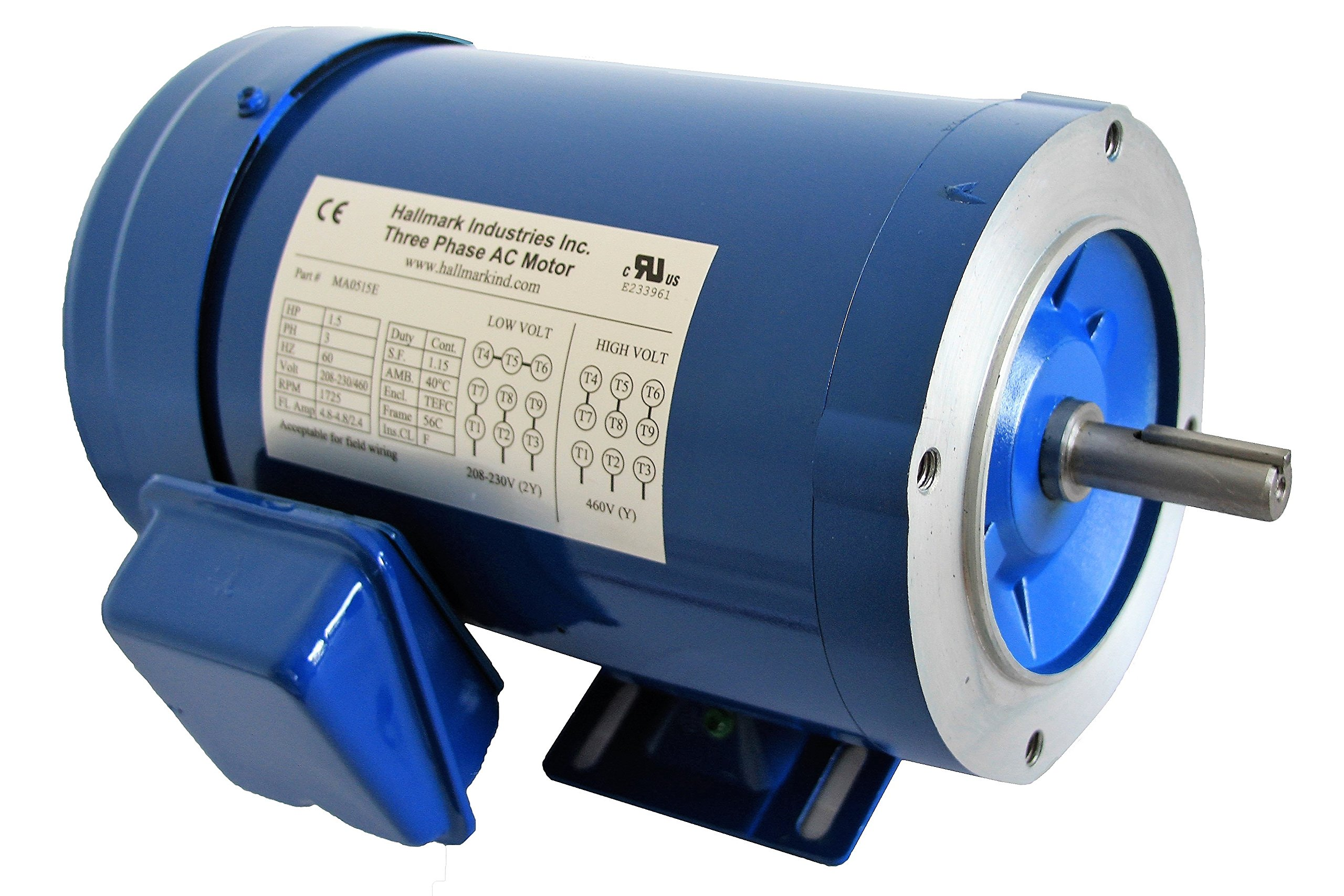 Hallmark Industries MA0505E AC Motor, 1/2 hp, 1725 RPM, 3PH/60 Hz,  208-230/460 VAC, 56C/TEFC with Foot SF 1 15 Class F Insulation, Inverter  Duty (Pack