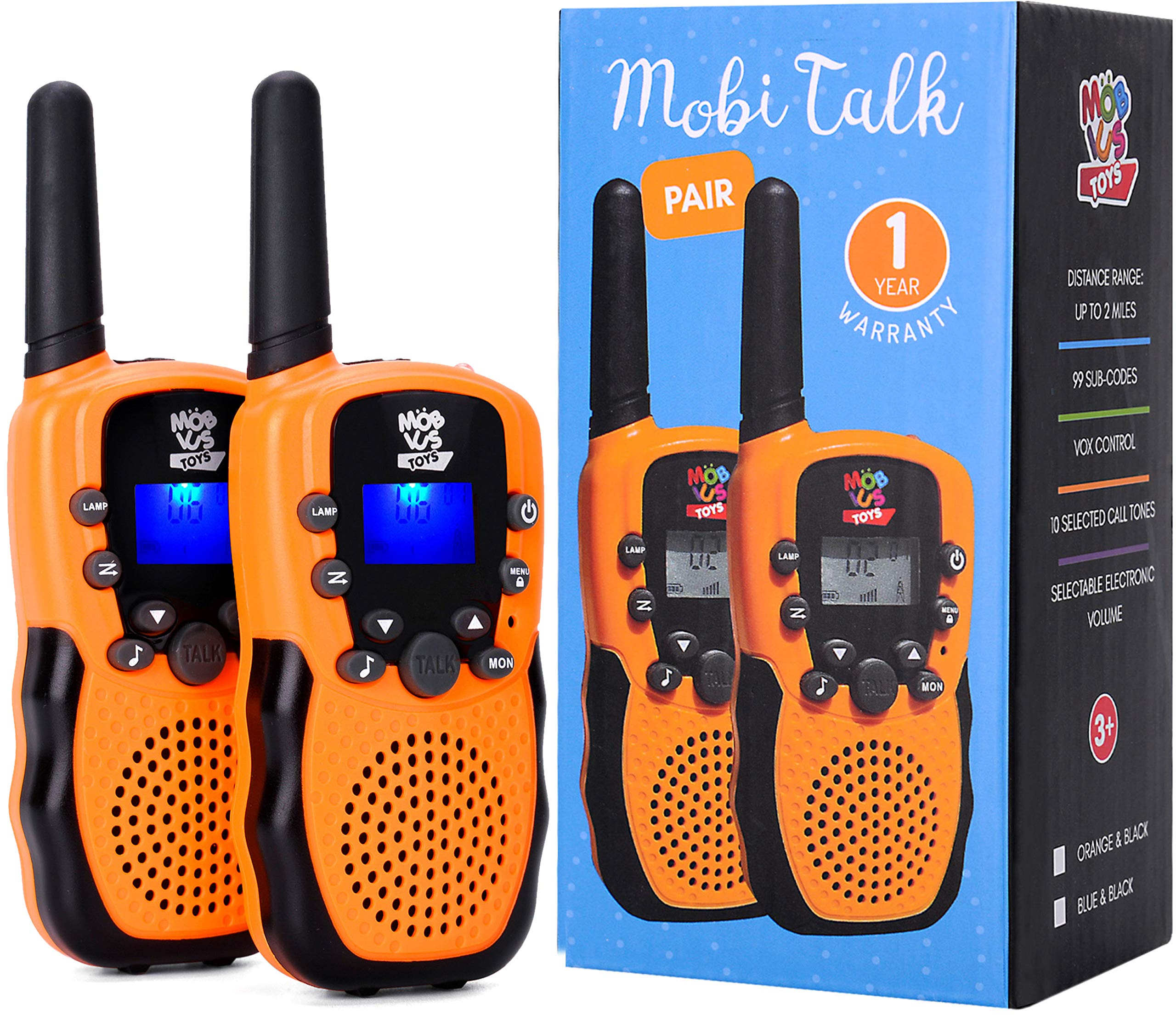 Walkie Talkies for Kids - (Vox Box) Voice Activated Walkie Talkies Toy for Kids, Two Way Radios Pair for Boys & Girls, Limited Edition Color Best Gift Long Range 3+ Miles Children's Walkie Talkie Set by MOBIUS Toys (Image #8)