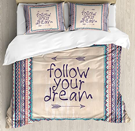 Amazon Com Ambesonne Tribal Duvet Cover Set Inspirational Words Follow Your Dream And Arrows Aztec Framed Graphic Art Print Decorative 3 Piece Bedding Set With 2 Pillow Shams King Size Coral Blue Home