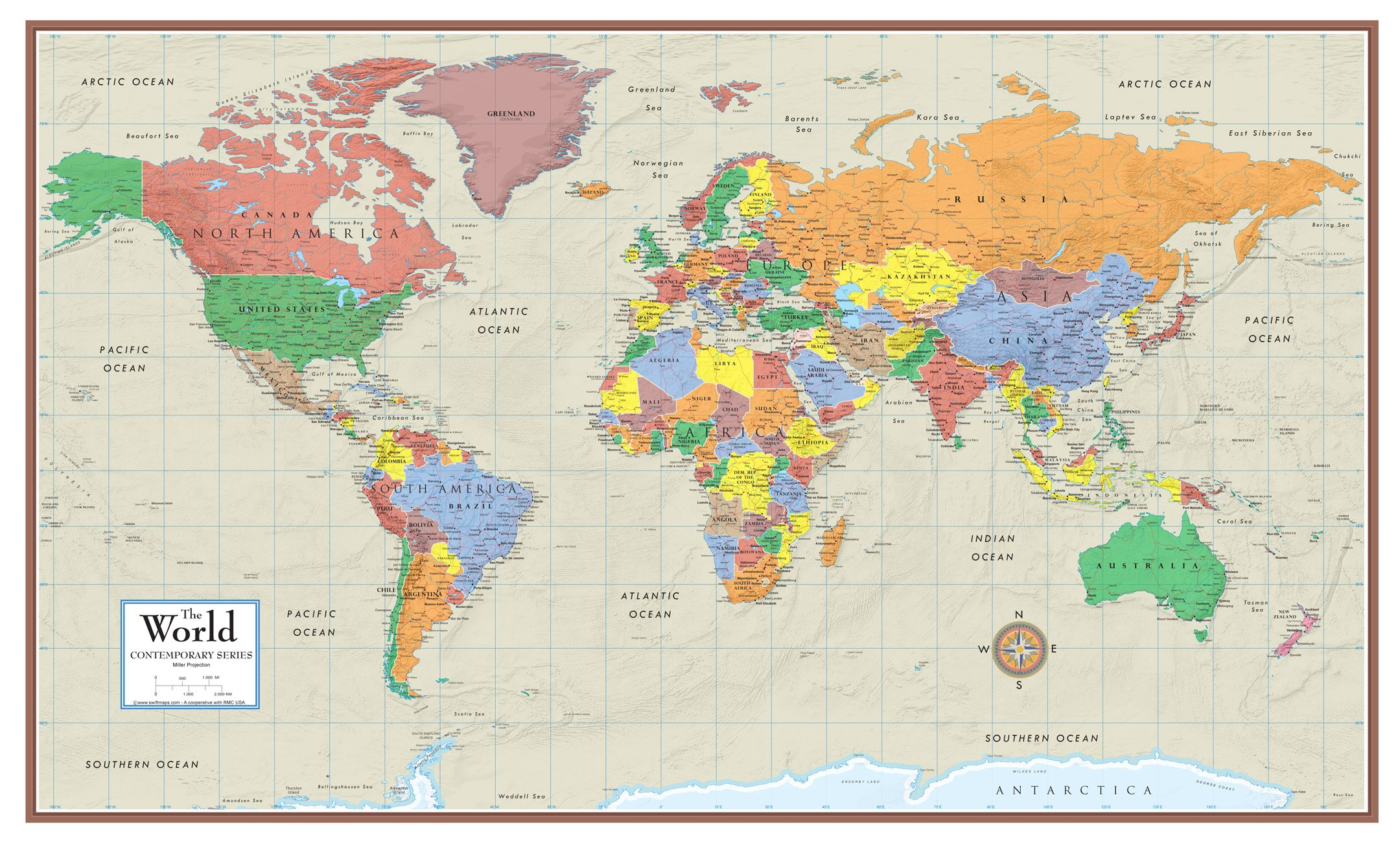 48x78 Huge World Contemporary Elite Wall Map Laminated