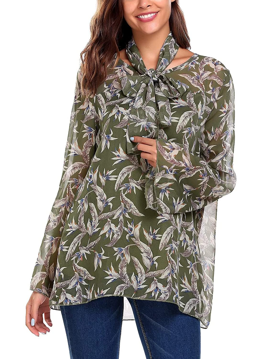 be8b2c0c693a6 Elever Womens Casual See Through Floral Long Sleeve Chiffon Shirt Blouse  Tops at Amazon Women's Clothing store: