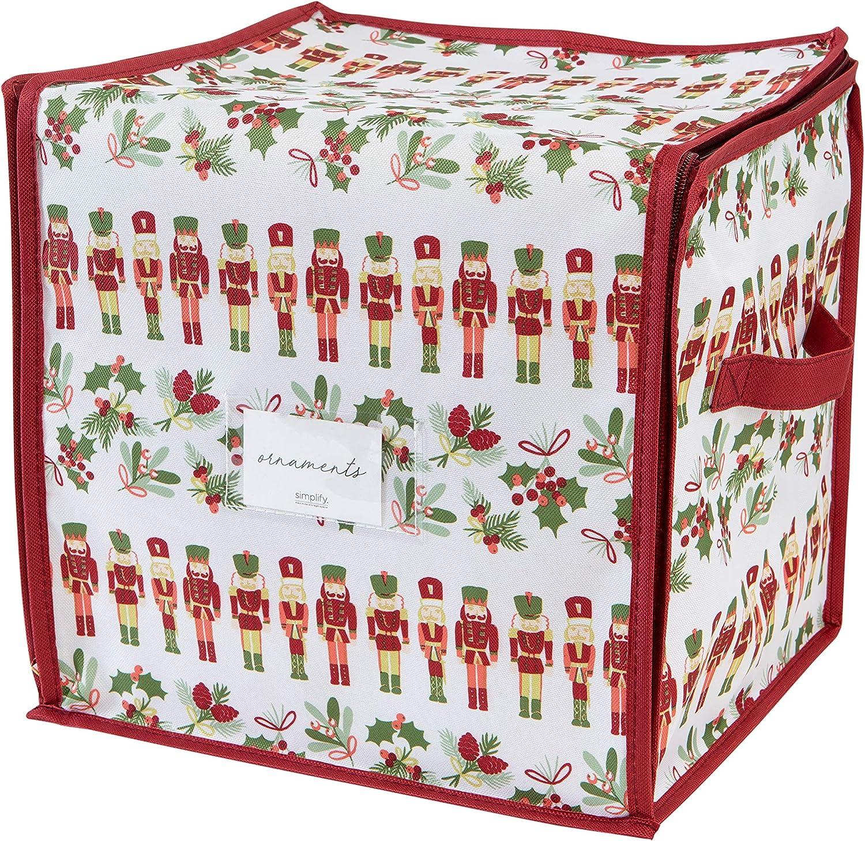 Laura Ashley Nutcracker Print Design 64 Count Stackable Christmas Ornament Storage Box, Seasonal, Holiday, White