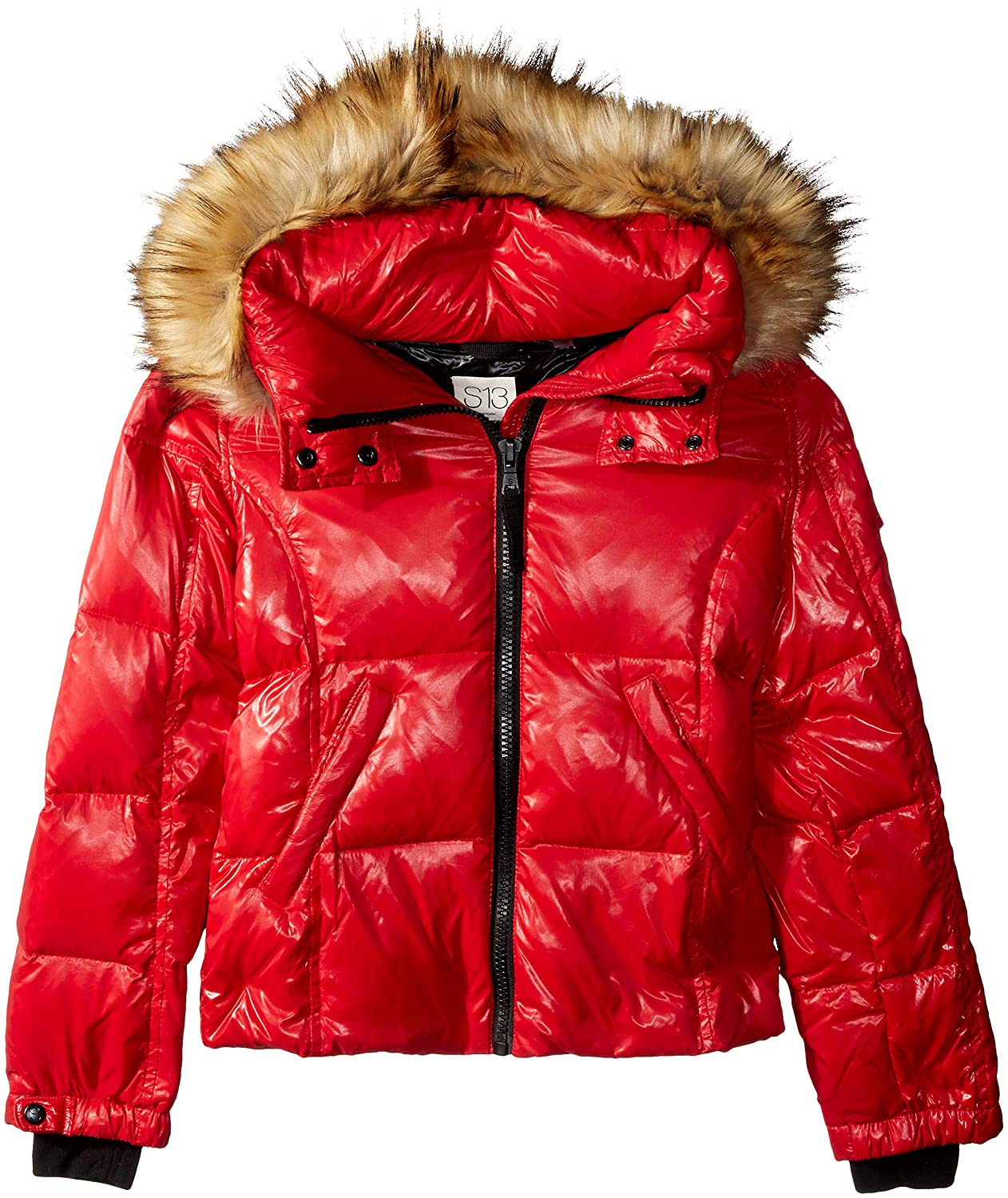 S13 Girls' Mogul Gloss Down Puffer with Faux Fur Hood