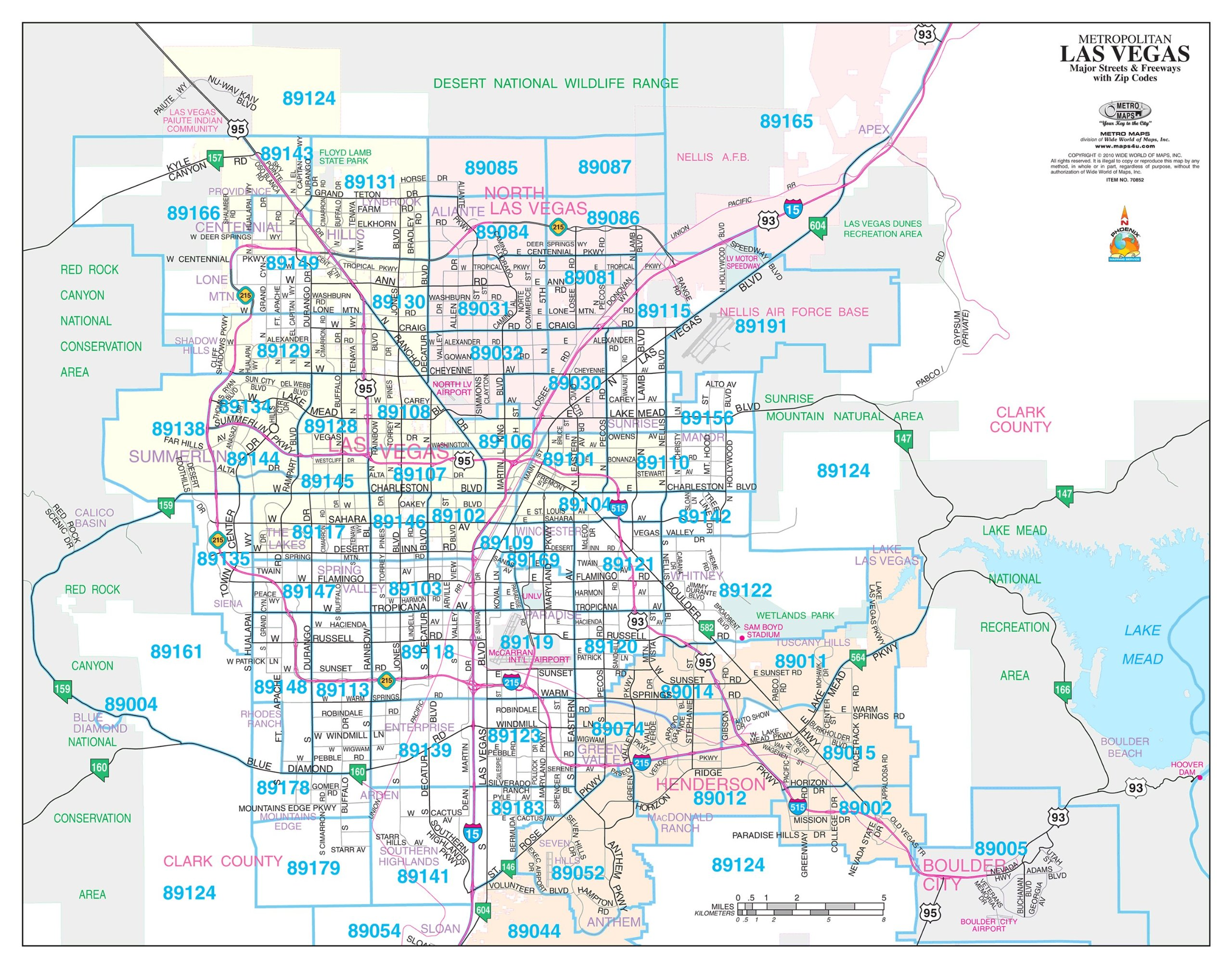 North Las Vegas Map Boundaries.Metropolitan Las Vegas Major Streets Freeways With Zip Codes Desk