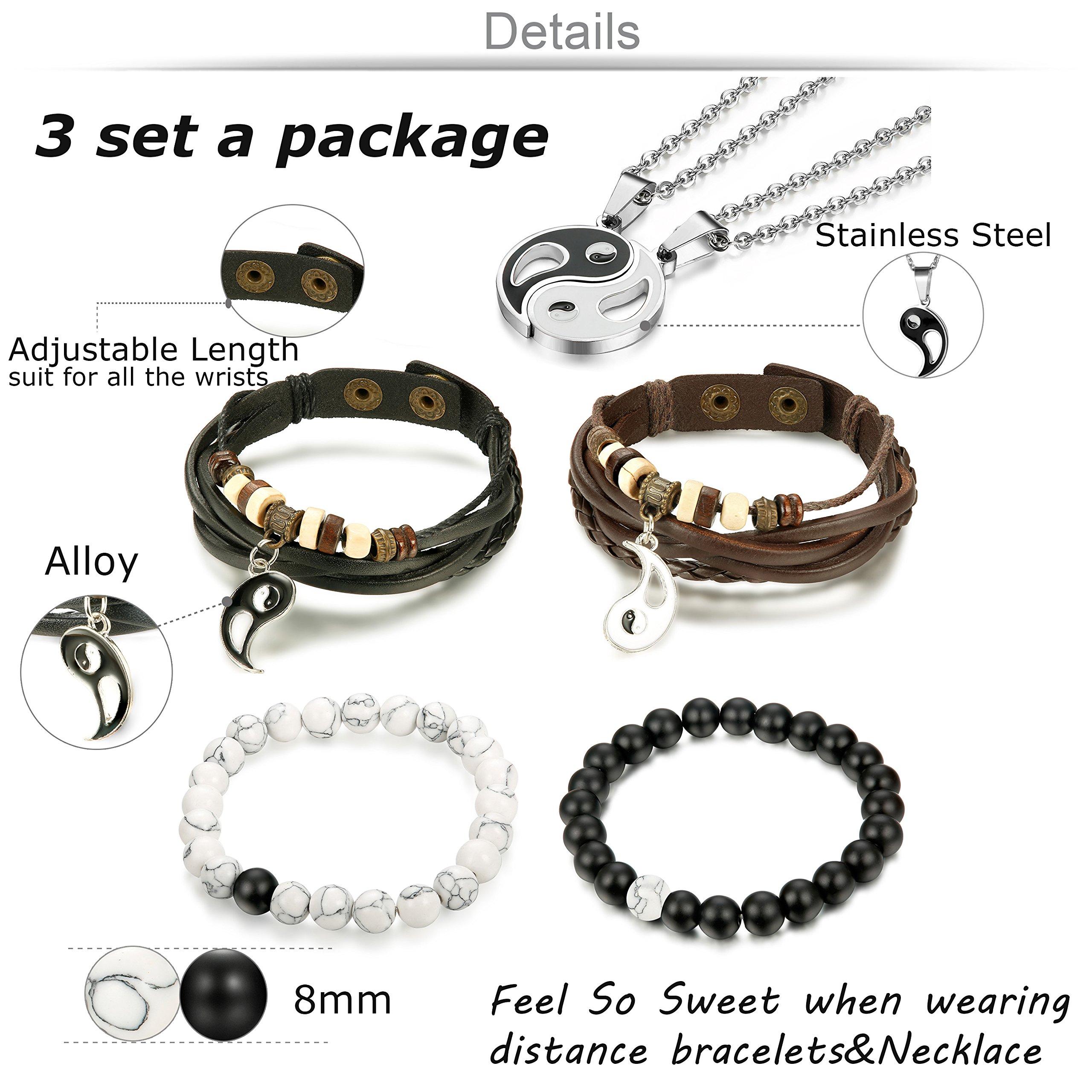 Jstyle Yin Yang Couples Necklace Bracelets for Women Mens Distance Leather Beaded Bracelet Adjustable 3Sets by Jstyle (Image #2)
