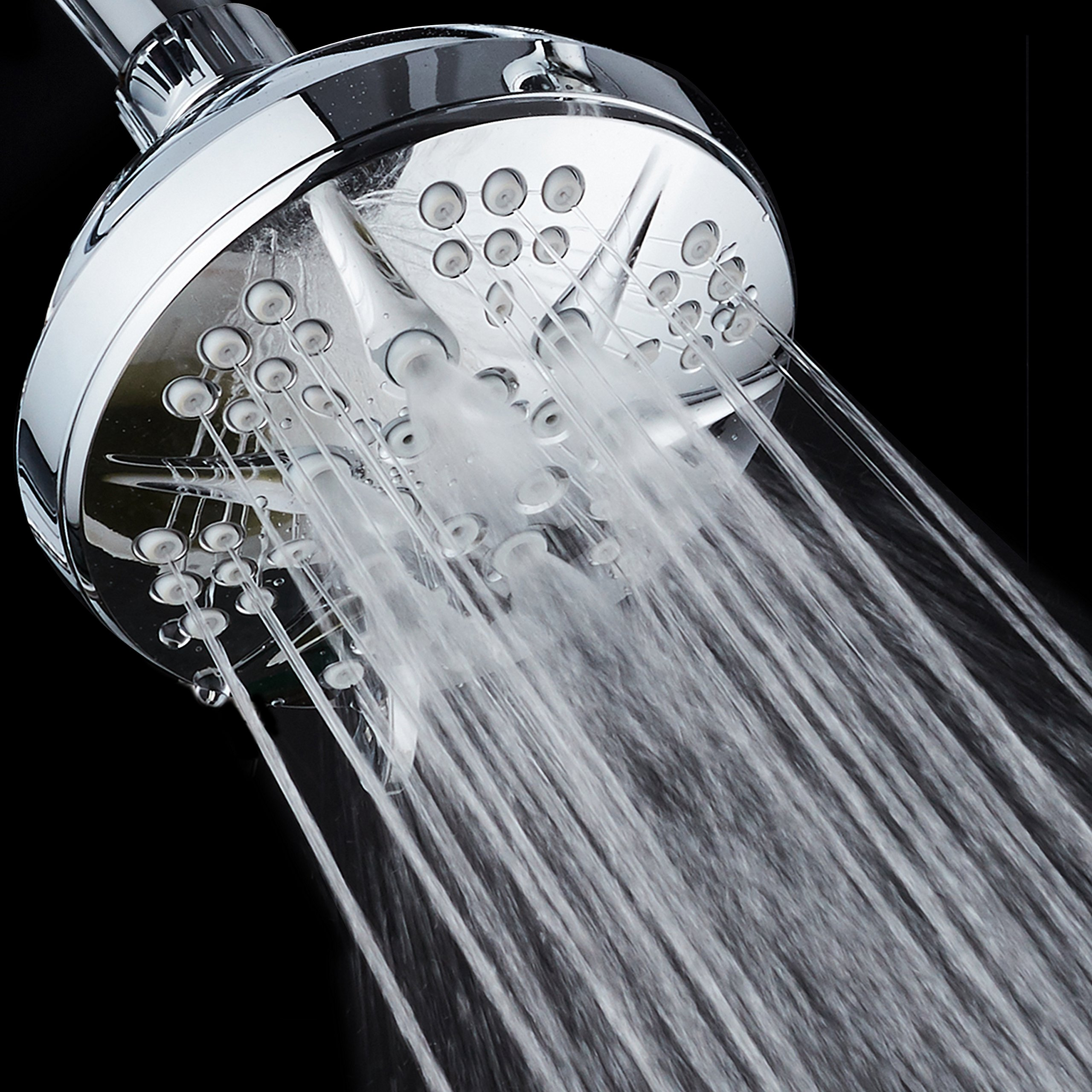 NOTILUS Giant High-Pressure 6-setting 4.3'' Face Modern Luxury Spa Shower Head - Solid Brass Metal Connection Nut, Angle-Adjustable Ball Joint, Anti-Clog Jets, All-Chrome Finish, by HotelSpa (Image #6)