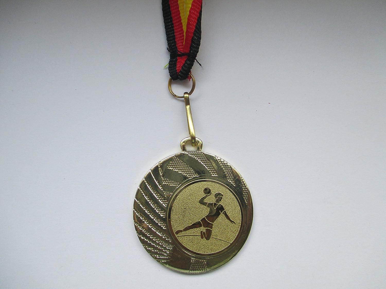 10 St/ück Medaillen aus Stahl 40mm // Gold inkl Emblem 25mm Medaillen-Band Handball