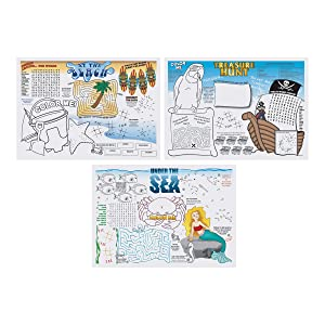 Hoffmaster 702088 Seashore Games Multipack Placemats with 3 Designs per Case, 10