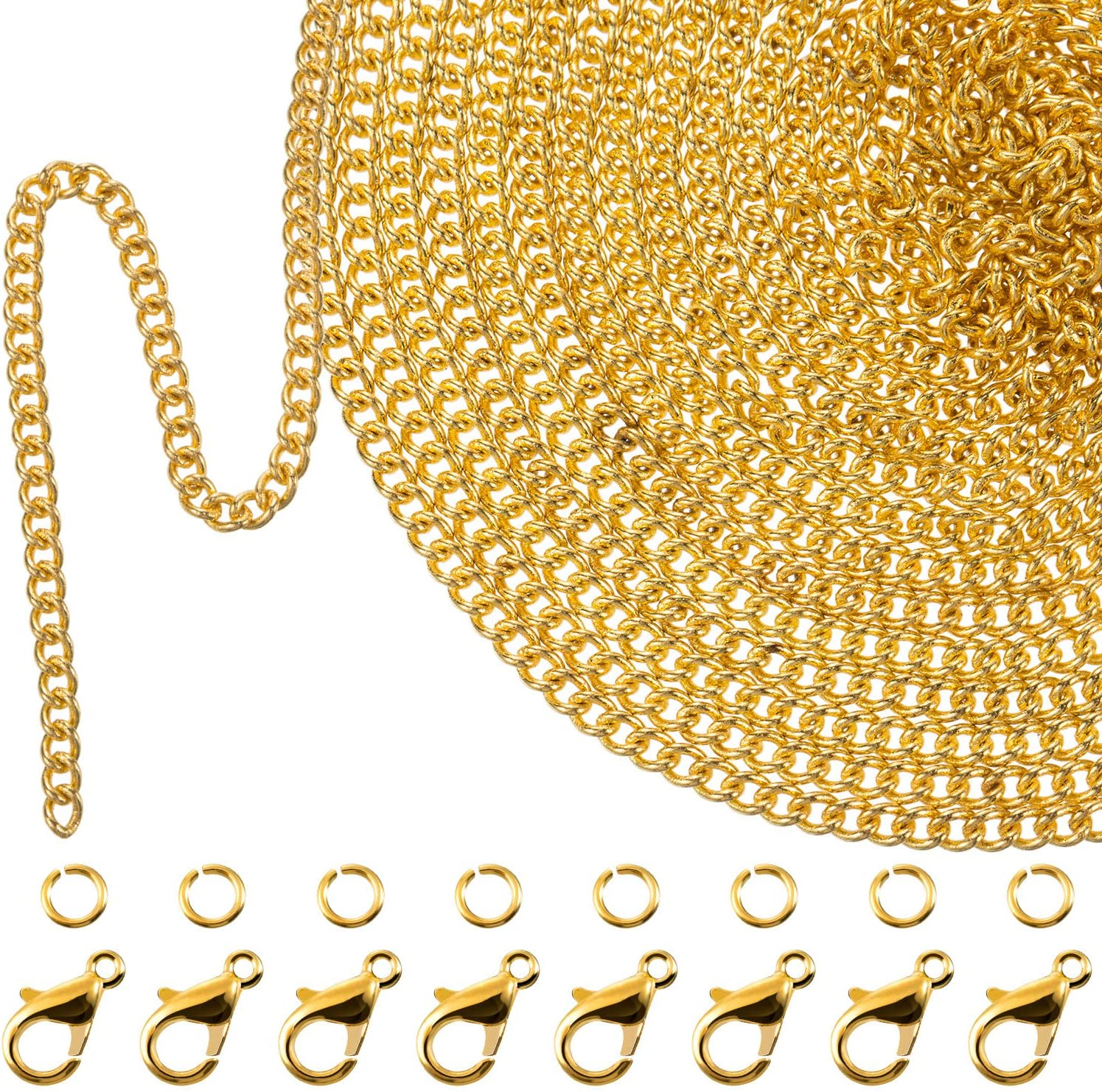 TecUnite 33 Feet Gold Plated Link Chain Necklace with 30 Jump Rings and 20 Lobster Clasps for Men Women Jewelry Chain DIY Making (1.5 mm)