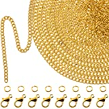 TecUnite 33 Feet Gold Plated Link Chain Necklace with 30 Jump Rings and 20 Lobster Clasps for Men Women Jewelry Chain DIY Mak