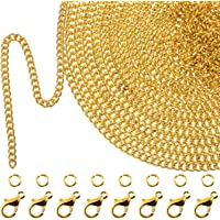 Fenteer Gold Chain for Jewelry Making Gold Plated Paperclip Chain Link Cable Chain for DIY Women Men Necklace Pendant Charm Crafting