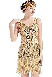 f62b0107f4a4 BABEYOND Women's Flapper Dresses 1920s V Neck Beaded Fringed Great Gatsby  Dress
