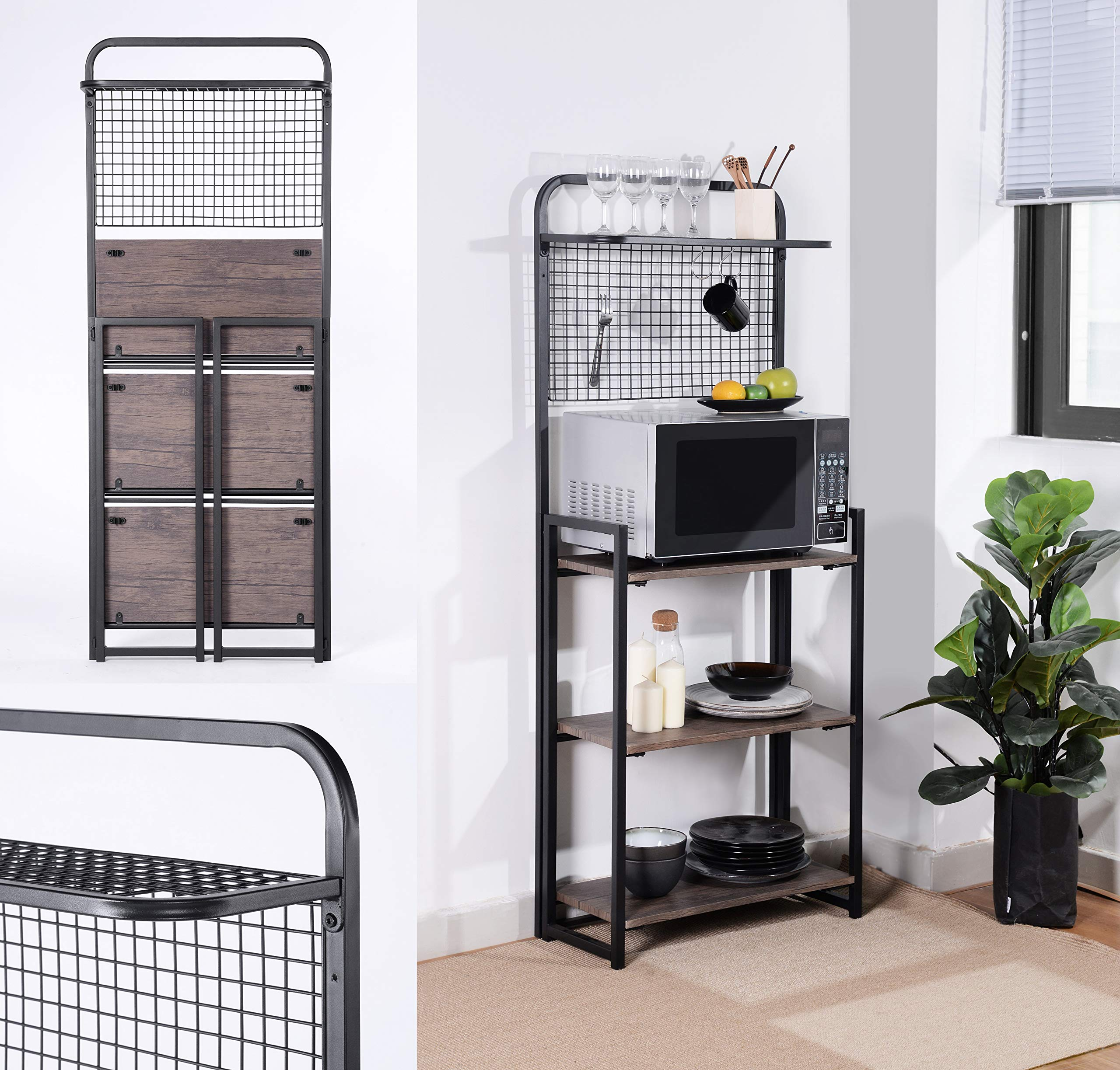 4-Tier Shelves Black Metal Dark Brown Finish Shelf Kitchen Bakers Rack Microwave Stand Foldable with Mesh Screen by Unknown