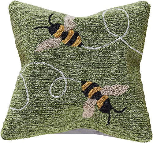 Liora Manne Frontporch Indoor Outdoor Pillow, 18 Square, Buzzy Bees