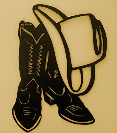 Amazon.com: Western,Cowboy,Boot,Hat,Wall Accent,Metal Art,Lodge ...