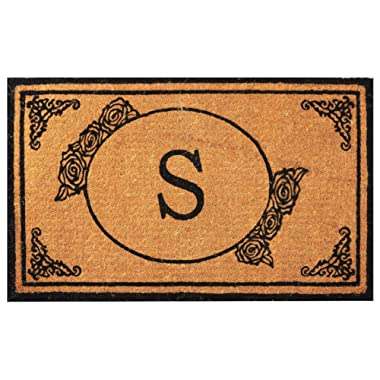 Envelor Home and Garden Handwoven, Customized Monogram Extra Thick Doormat, Outdoor Rugs Durable Coir, Outdoor Doormat, Welcome Mat Entryway Door Mat For Patio, Coir Doormat (18 x 30, Monogram S)
