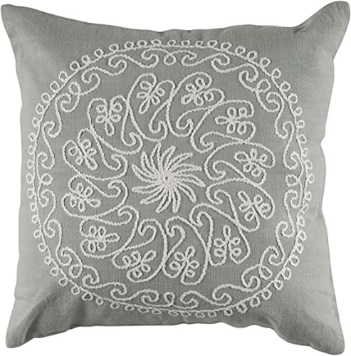 Rizzy Home T-4097 18-Inch by 18-Inch Decorative Pillows, Gray Ivory