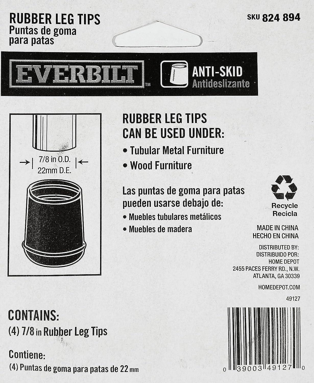 4-Pack 7//8 in Black Rubber Leg Tips