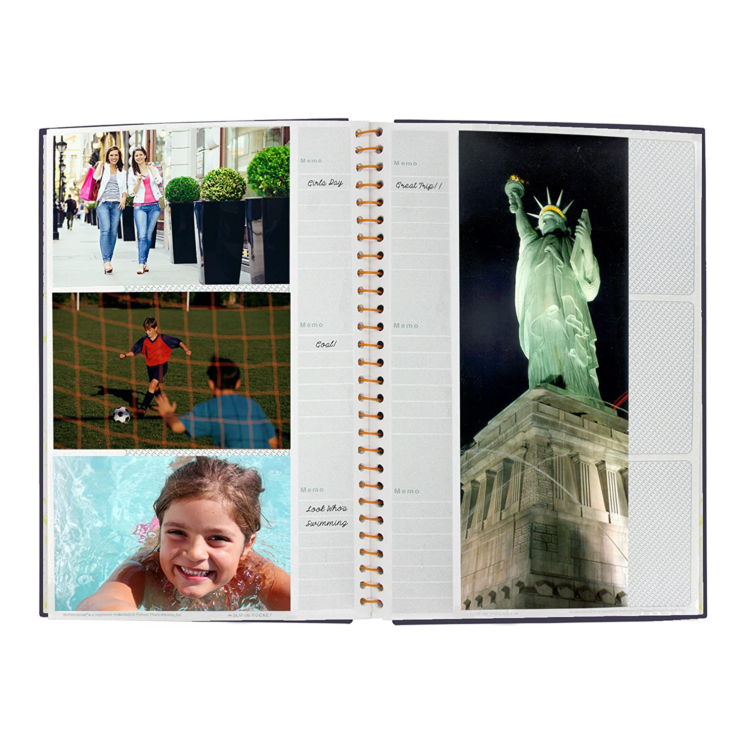 BDP-35//BK Pioneer Photo Bi-Directional 300 4-Inchx6-Inch Pocket Metal Coil Bound Album with Gold Accented Black Leatherette Cover