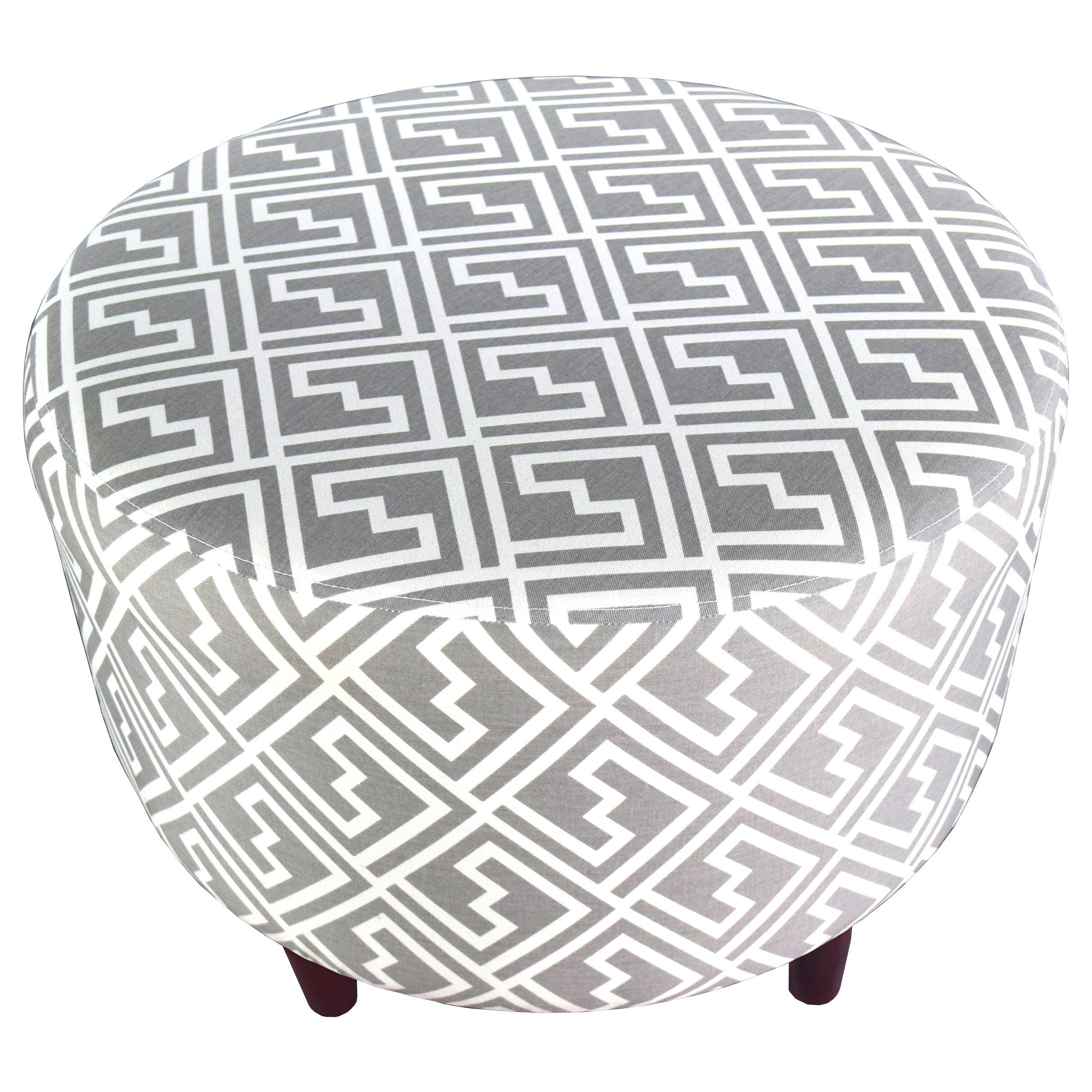 MJL Furniture Designs Sophia Collection Fabric Upholstered Round Footrest Ottoman with Round Espresso Finished Legs, Shakes Series, Storm