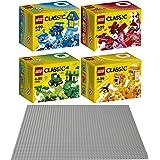 LEGO Classic 5'li set 1070610707107081070910701yaratıcı Boxen Mavi, Kırmızı, Yeşil ve turuncu + taban plakası Gri