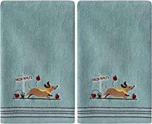 SKL Home by Saturday Knight Ltd. Dog With Apples 2 Pc Hand Towel Set, Aqua 2 Count