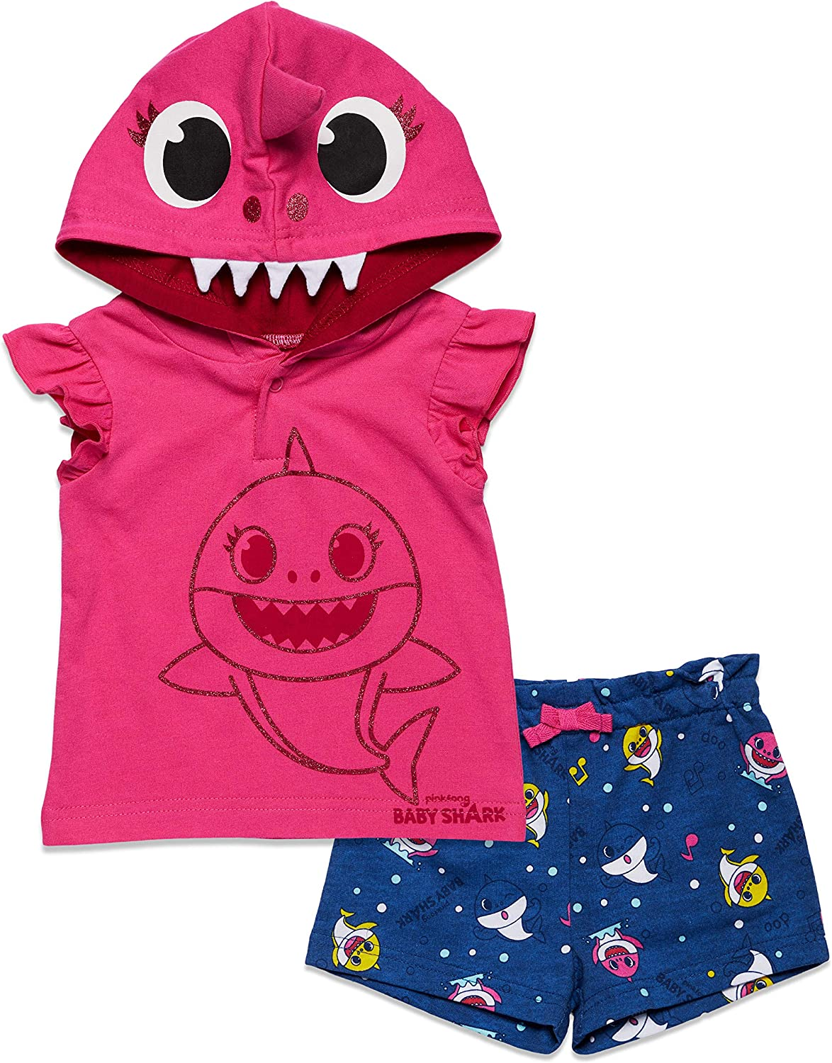 Pinkfong Baby Shark Baby-Girls Hooded T-Shirt and French Terry Shorts Set
