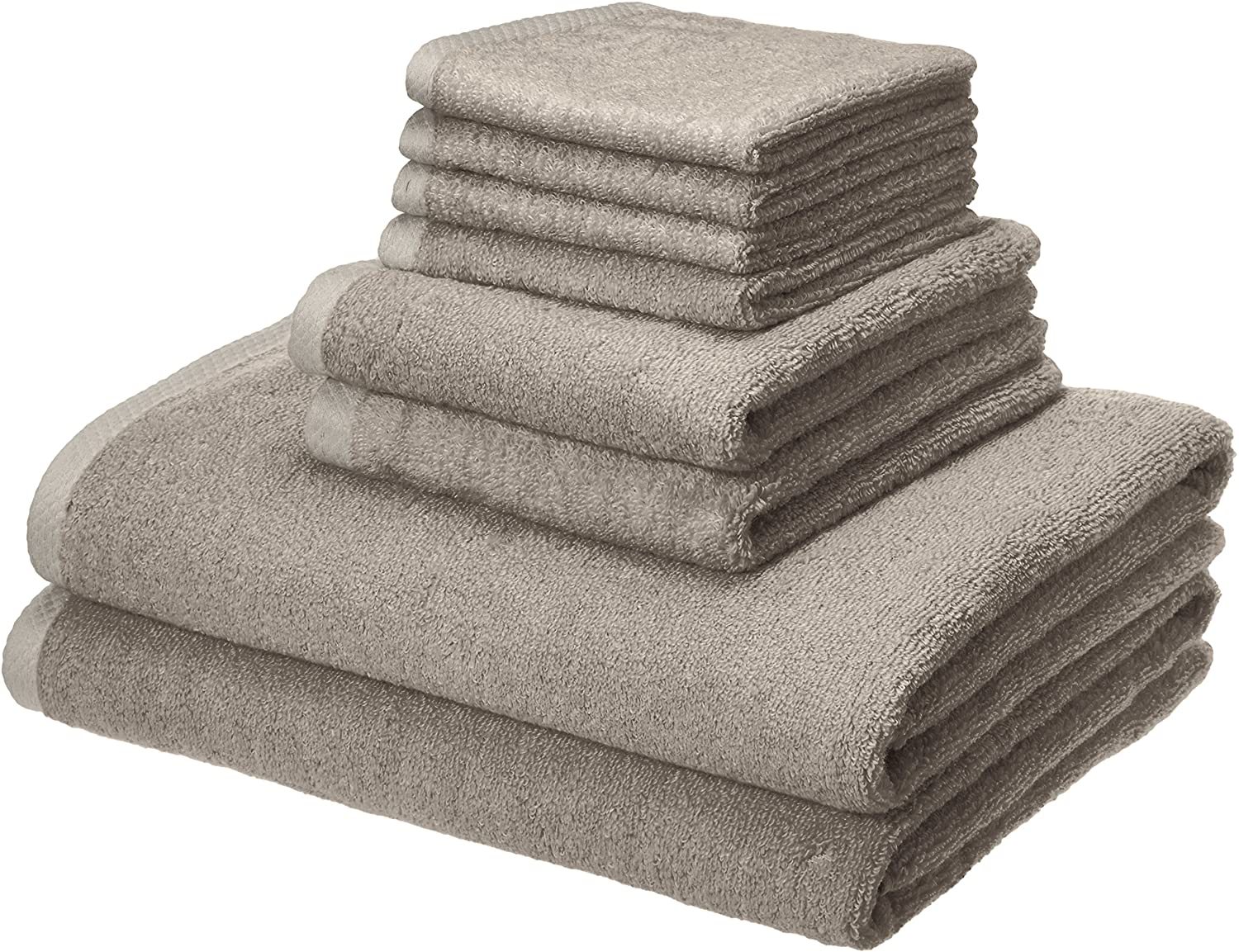 Basics Quick-Dry, Luxurious, Soft, 100% Cotton Towels, Platinum - 8-Piece Set: Home & Kitchen