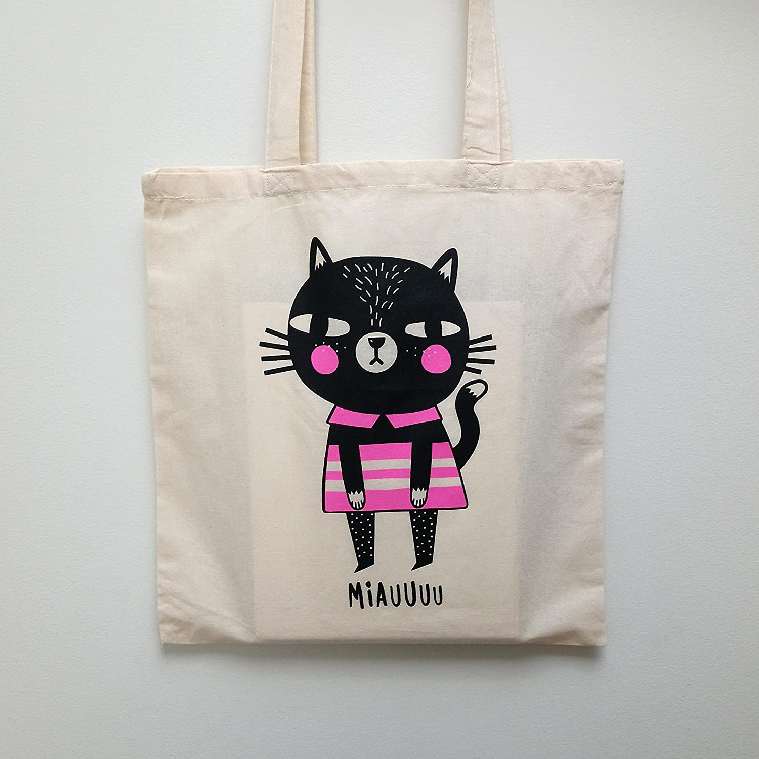 MIAUUUU CAT Tote // Screen printed Cat Tote Bag // Cat Screen Print // Shopping Bag