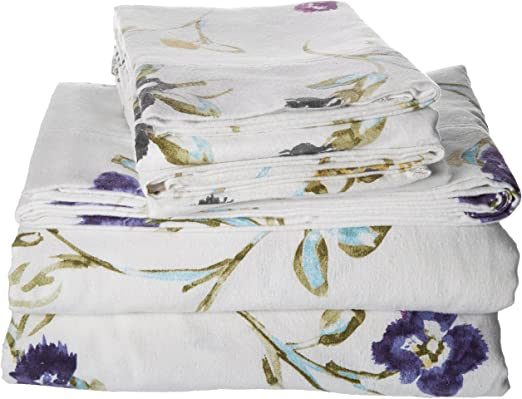 Tribeca Living Queen Floral Garden Printed Extra Deep Pocket Flannel Sheet Set Amazon Ca Home Kitchen