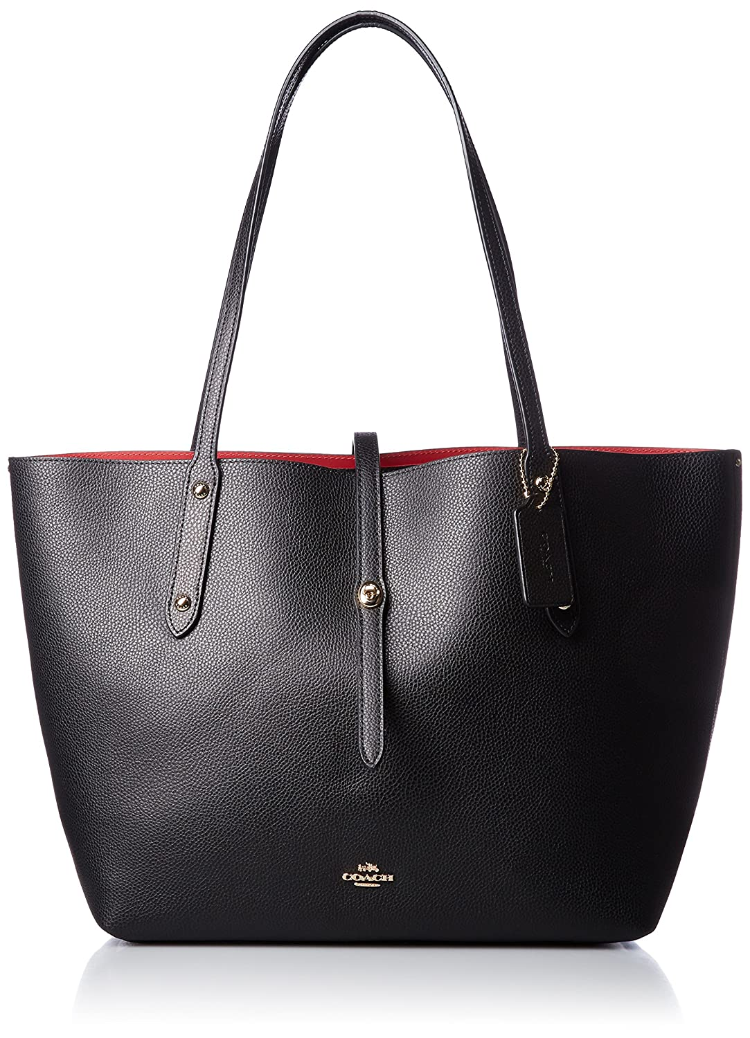 d294afd108 Amazon.com  COACH Women s Polished Pebbled Leather Market Tote  Li Black True Red One Size  Shoes