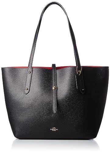 84151c2696 Amazon.com  COACH Women s Polished Pebbled Leather Market Tote Li Black True  Red One Size  Shoes