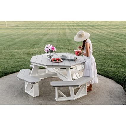 Amazoncom Wildridge Recycled Plastic Octagon Picnic Table - Recycled plastic hexagonal picnic table