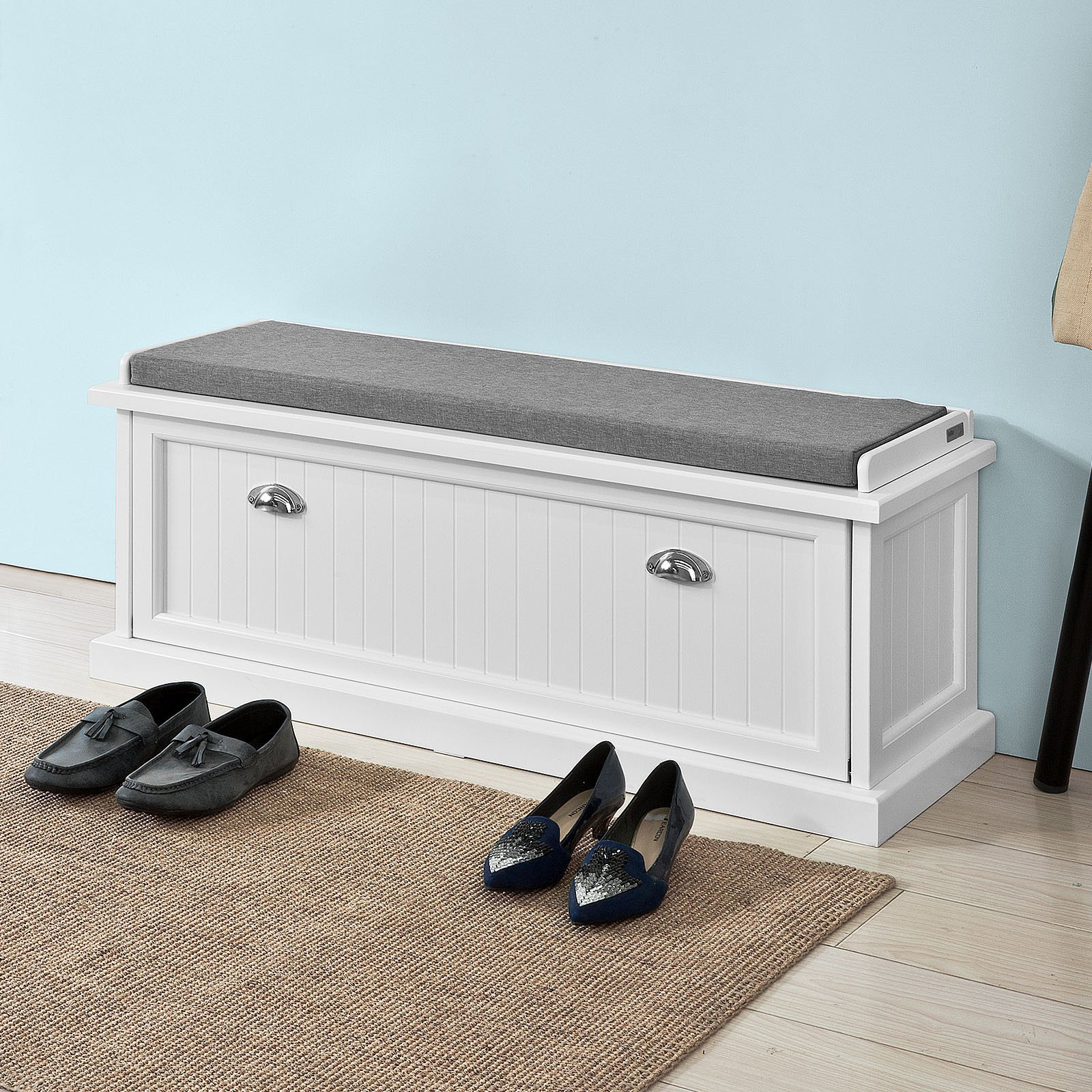 Haotian white,White Storage Bench with Removable Seat Cushion, Bench with Storage Chest, Shoe Cabinet Shoe Bench (FSR41-W)