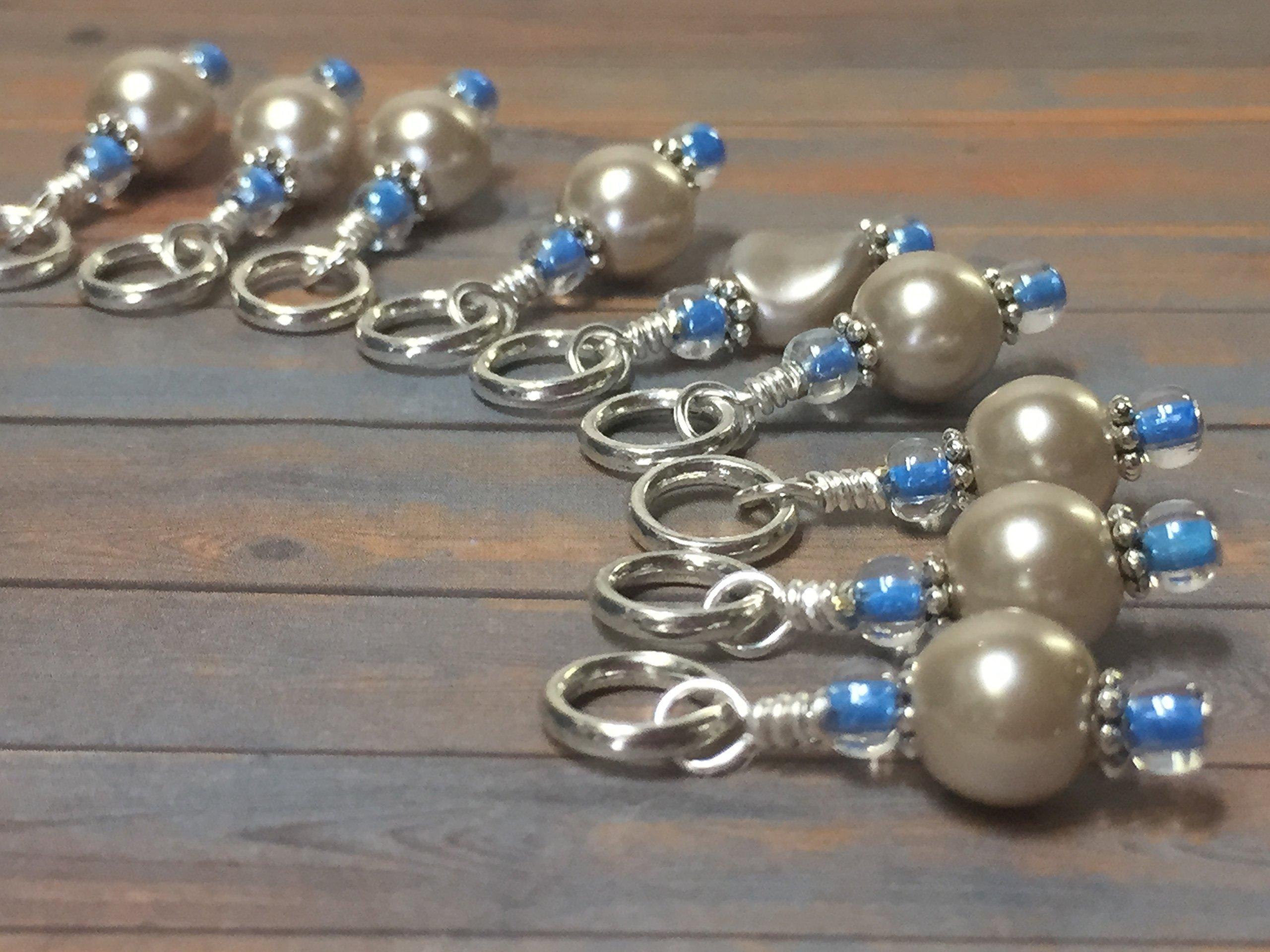 Almond Pearl Knitting Stitch Marker Jewelry Set