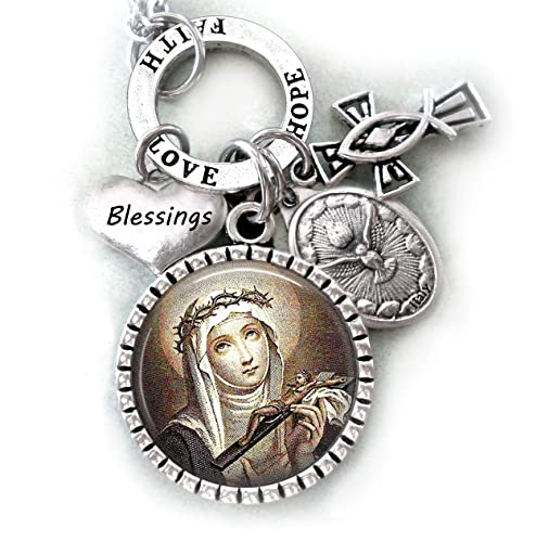 Amazon St Catherine Of Siena Necklace Keychain Or Purse Clip