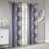 Grey Purple Curtains for Living Room, Modern Contemporary Purple Window Curtains for Bedroom, Anaya Print Fabric Grommet Window Curtains, 50X84, 1-Panel Pack