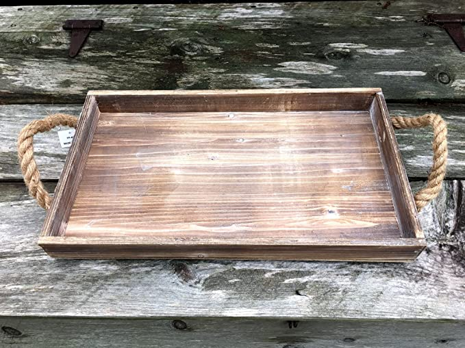 Amazon.com: Rustic Beach Wood Tray with Jute Rope Handles - 20-in: Home & Kitchen
