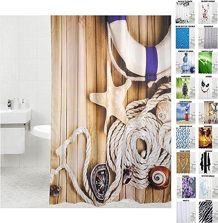 Duschvorhang Anti Schimmel Effekt Badewannenvorhang Wasserdicht inkl.12 Ringe