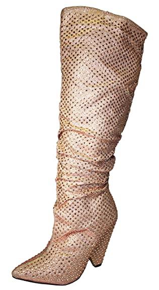 BAMBOO Women's Embellished Slouch Boot in Rhine Stones, Rose Gold, 5.5 B (M