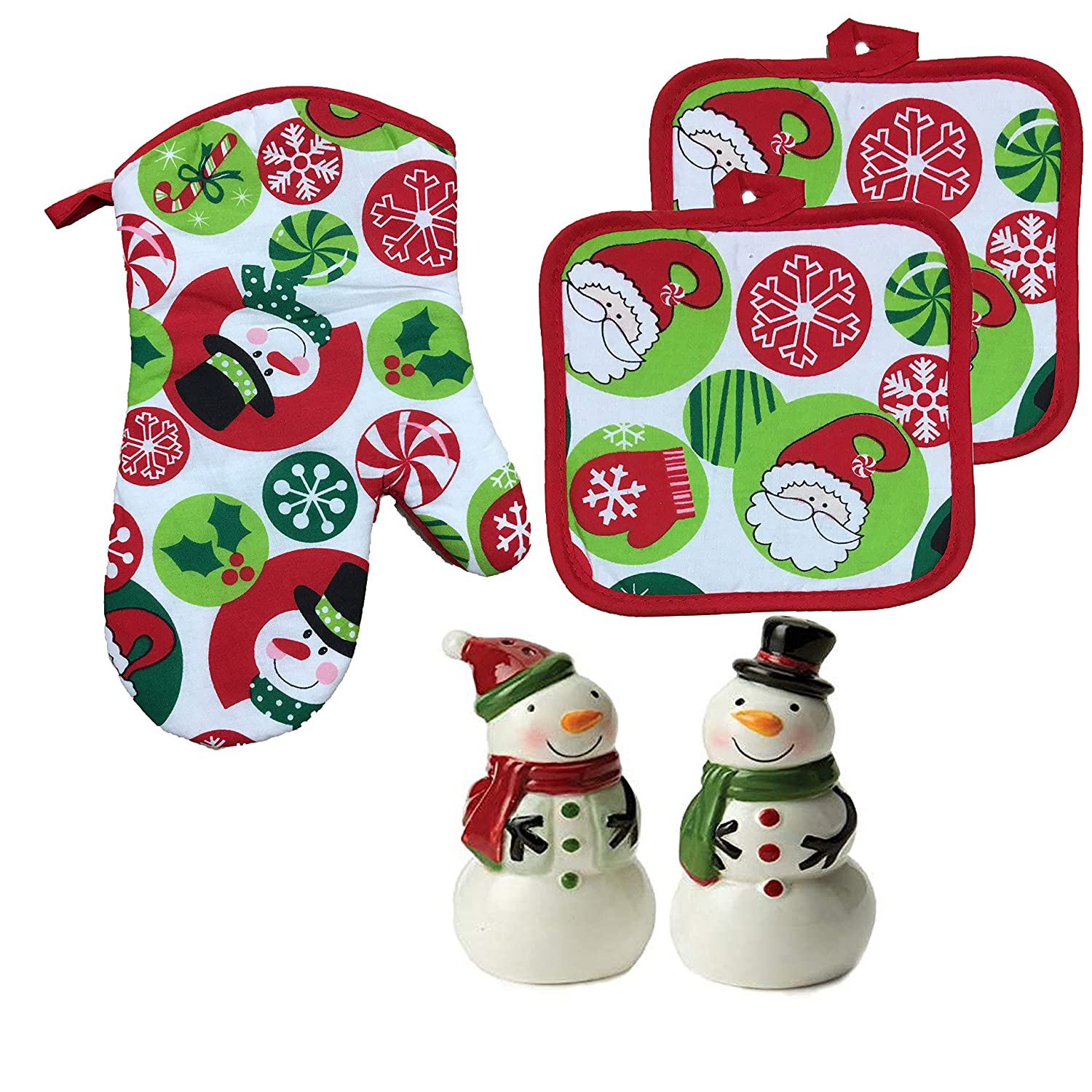 Christmas Holiday Ornaments Printed Oven Mitt, Pot Holders and Salt and Pepper Shakers 5-Piece Gift Set (Ornaments Print)