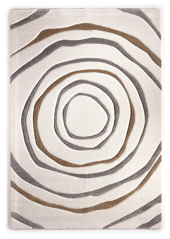 Teppich Modern Design Musterteppich Webteppich Kurzflor - Wohnzimmer, Esszimmer, Gästezimmer – Kreis-Design Creme Braun – 3-D Effekt – komplett umkettelt, 15mm Flor, pflegeleicht – 160x230cm