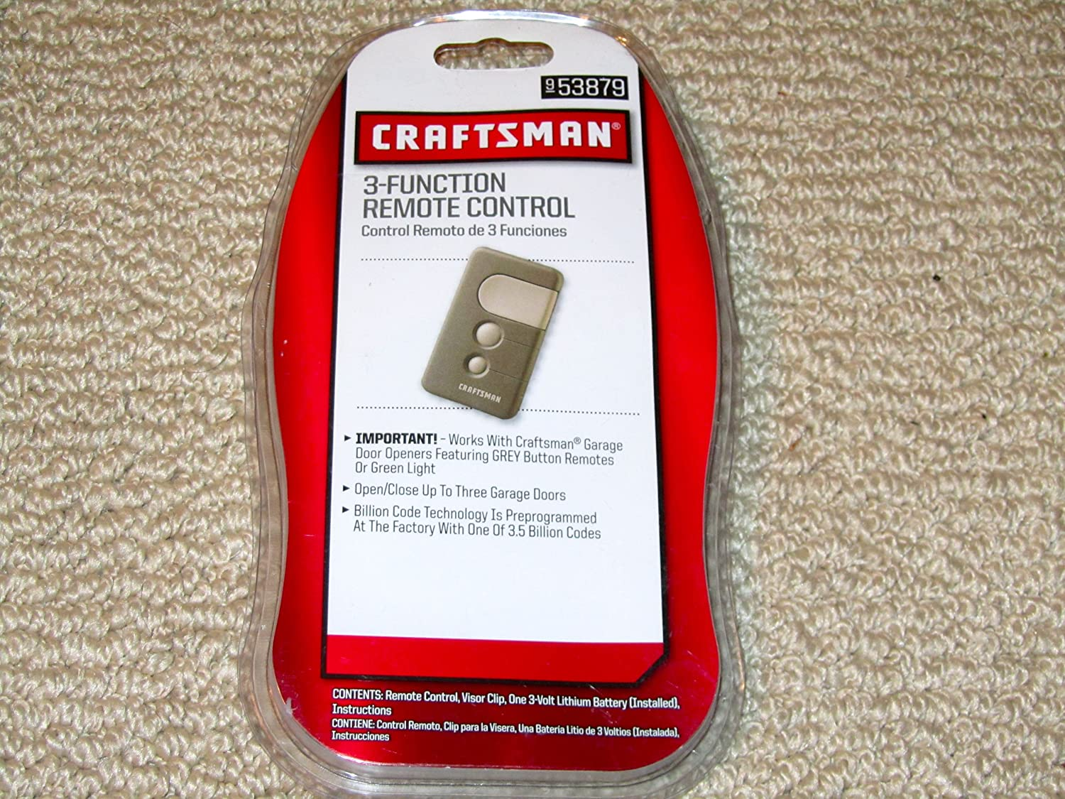 Craftsman 13953879 Three Button Remote 53879 Garage Door Remote