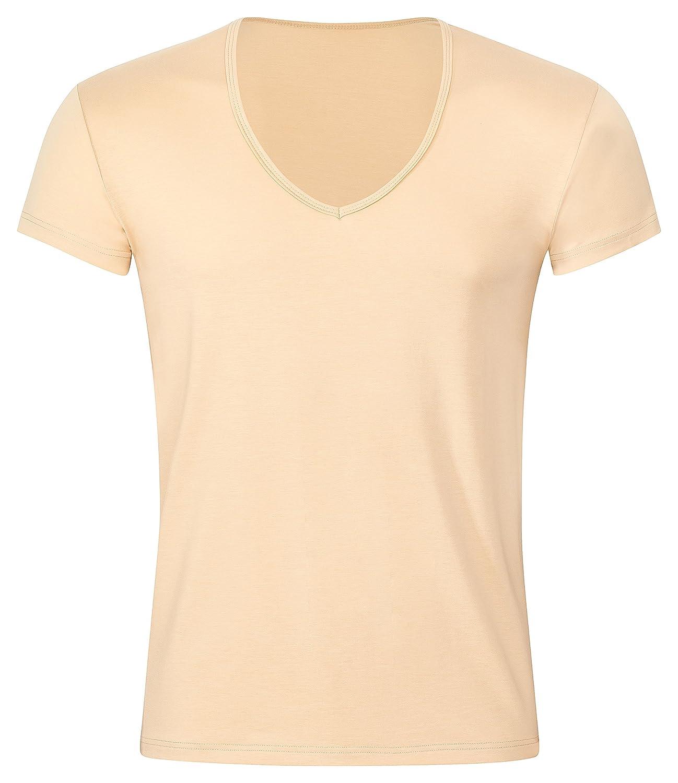 KliSa - 3er-Pack - Business-Unterhemd mit V-Ausschnitt/Unsichtbares Herrenunterhemd/Hautfarbenes T-Shirt