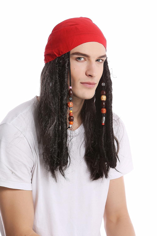 WIG ME UP ® - A72325-P1 Peluca & Bandana pañuelo Halloween Carnaval Mujer Hombre Largo Negro Perlas Trenzas Rasta Trenzado Pirata Caribe: Amazon.es: ...