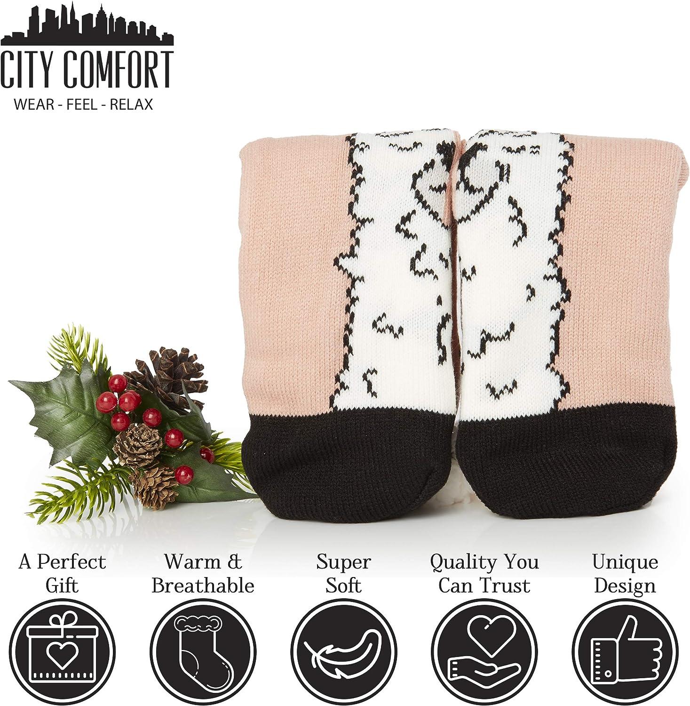 Neuheit Owl Dog Cat Flauschige Und Pelzige Slipper Socke Sch/önes Geschenk Non Slip Premium Soft Home Socken Einheitsgr/ö/ße CityComfort Slipper Socken Damen Und M/ädchen Pink Llama