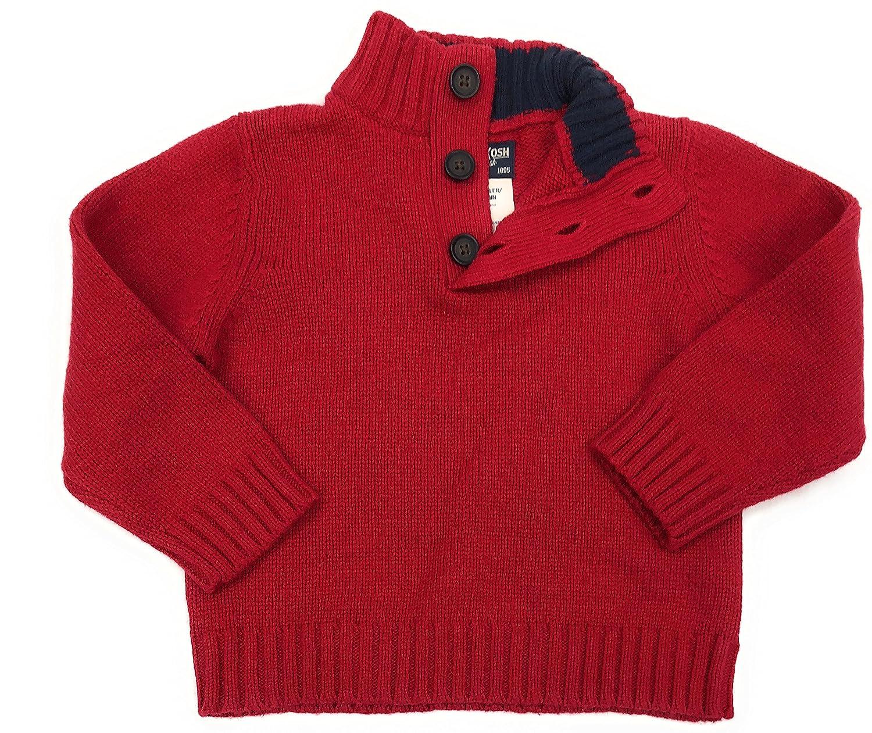 OshKosh BGosh Boys Red Knit Quarter-Button Sweater
