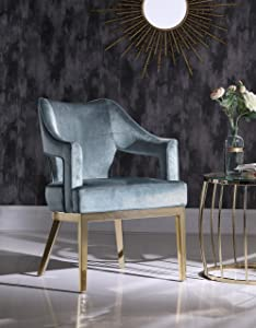 Iconic Home Gourdon Accent Chair Plush Velvet Upholstered Swoop Arm Gold Tone Solid Metal Legs Modern Contemporary, Blue