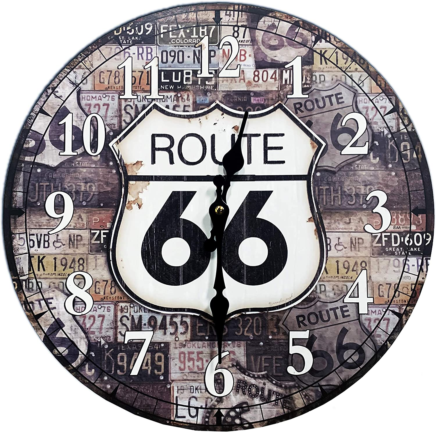 "M&M Trading Wall Clock Route 66 Multi Color 13"" Round"